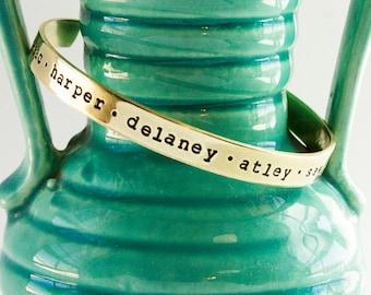Personalized Cuff Bracelet w/Names-Gold color Bracelet-Brass Bracelet-Bracelet for Mom Grandma-Cuff Bangle-tagyoureitjewelry-custom jewelry
