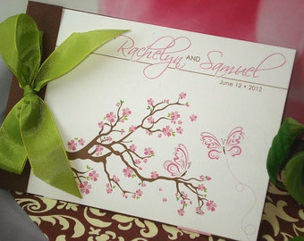 New Beginning Cherry Blossom Butterfly Butterflies Wings Fly Flight Tree Branch Flower Floral Pink Green Brown Wedding Invitation - Sample