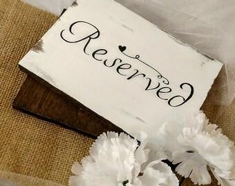 Reserved sign-Rustic wedding decor-Wedding centerpiece-Wedding signs-Reserved table signs-Wedding isle signs-Wooden wedding signs-Signs