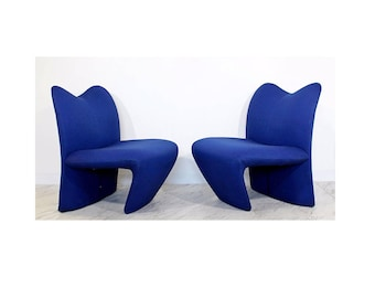 Mid Century Modern Pair Sculpted Accent Chairs Paulin Panton Style Italian 1970s