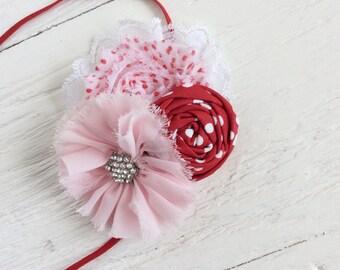 Pink red baby headband girl headband toddler headband newborn headband persnickety m2m headband matilda jane headband shabby chic headband