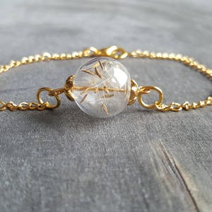 "Bracelet dandelion ""dreams become true"" gold"