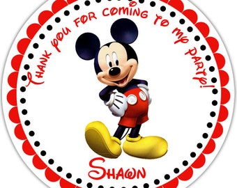 Mickey Mouse - Personalized Stickers, Party Favor Tags, Thank You Tags, Gift Tags, Address labels, Birthday, Baby Shower