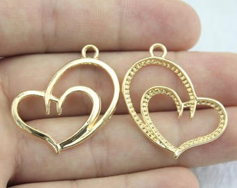 5 Double Heart Charms, Antique Gold Tone (1U-227)