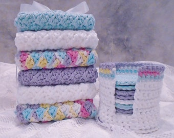 Hand Crochet 100% Cotton Bath/Spa Set Wash/Face Cloths with Scrubbies and Holder