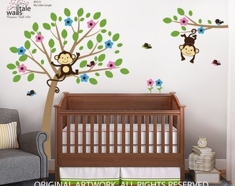 Tree with Two Monkeys for boy and girl, gender neutral monkey decal with tree, flowers, and birds for girl,boy nursery..