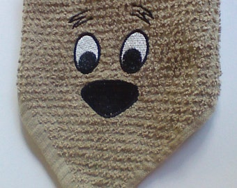 Dog Wash cloth, Handmade,Embroiderd,100% cotton, Whisker Washer #WW110