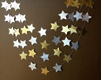 Christmas star garland, Gold & Silver garland, Gold star garland, Silver star garland, Party decor, Christmas decor, Photo prop
