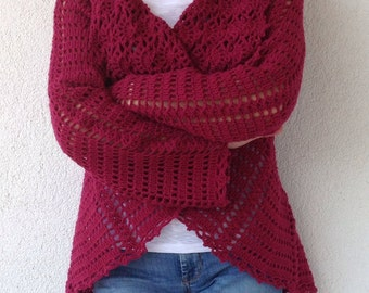 Red Crochet Cardigan/Women Red Crochet Cardigan