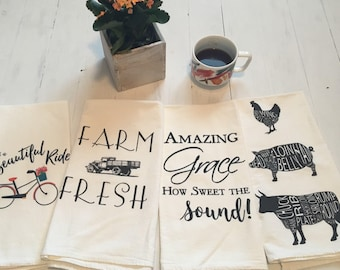 Flour Sack Towels. Farmhouse Decor. Farm House Tea Towels. Dish Towel. Tea Towel Flour Sack. Kitchen Towels. Dish Towel. Housewarming Gift.