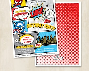 Custom Birthday Party Invitation by Mulberry Paperie - Superheroes Single or Joint