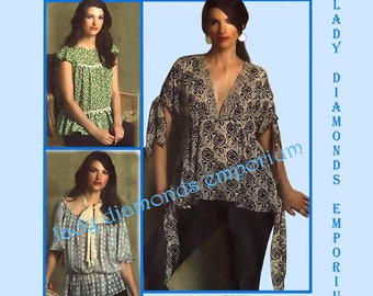 Vogue V2947 Womens Babydoll Tops Shirt Blouse size 6 8 10 12 Anna Sui American Designer Boho Sewing Pattern 2947 Uncut FF