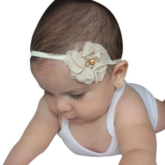 Flower Baby Headband, Tan Baby Headband, Baby Headband, Tan Headbands, Beige Headband, Infant Headband, Newborn Headband, Baby Headbands