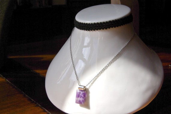 Amethyst Pendant, Amethyst Cabochon, Tube Design Collection, Spiritual Stone, Amethyst Necklace, Crystal Healing, Handmade, Amethyst Jewelry