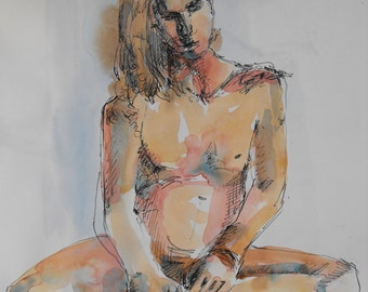 Original figure study, pen and ink, watercolour washes on paper, from life, male model, seated, 11 X 14, Figure 85