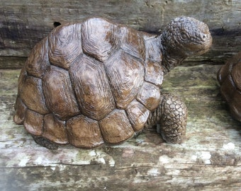 Large realistic stone tortoise garden ornament