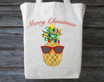 Christmas Pineapple Tote, Christmas Tote, Holiday Pineapple Tote, Merry Christmas Tote, Hawaii Christmas Tote, Hawaiian Christmas, Pineapple