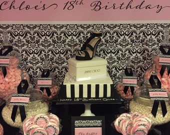 BLACK and PINK DAMASK Printable Party 72x39 Backdrop - You Print