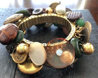 Scottish Hunting Estate stretch cha cha style bracelet in green, brown, gold; gold-toned with vintage buttons, repurposed beads