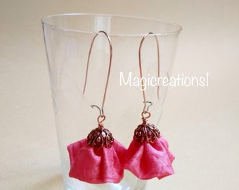 Pink silk dangle and drop earrings.Sterling silver earrings.Romantic dangle earrings.Mothers gift.Mother's Day.Gift for her.Christmas gift.