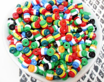 100x Tiny 5mm Resin Multi color stripe Cylinder beads