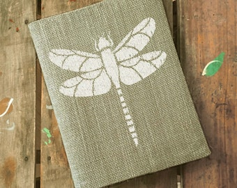 Dragonfly - Burlap Journal  Refillable -  Notebook included - Composition Notebook Cover - Dragonfly Journal - Sketchbook