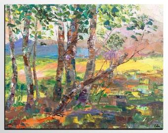 Large Oil Painting, Forest Tree Landscape Art, Canvas Wall Art, Original Art, Contemporary Art, Modern Artwork, Abstract Art, Ready to Hang
