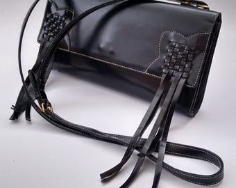 GAULTIER Bag. Jean Paul Gaultier Vintage Black Leather Shoulder / Crossbody Fringe Bag  . French Designer Clutch.