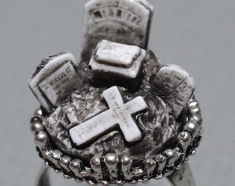 Halloween  Ring - Creepy Old  Victorian Cemetery Style Ring with Tombstones - Zombie  Vampire