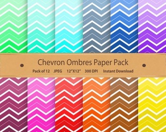 Chevron Ombres Digital Paper Pack Printable Designs Instant Download Scrapbooking Collection - Purple Aqua Pink  - Pack of 12