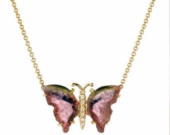 14K Rose Gold Watermelon Tourmaline Butterfly Necklace