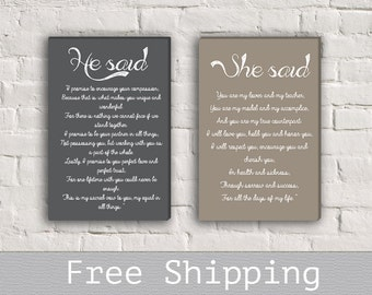 Wedding Vows Canvas - 1st Anniversary Gift - Set of 2 - Gift for her - Wedding Vows Print - Wall Decor - Free Shipping