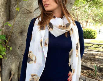 Beige Animal Print Scarf / Dog Print Scarf / Mothers Day Gift / Women Scarves / Infinity Scarves / Fashion Accessories / Gifts For Her