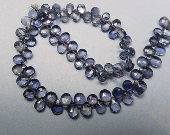Iolite Gemstone Bead. Faceted Iolite Pear Briolette, 5mm. Semi Precious Gemstone.Select 1 to 20 Briolettes ... (j3iol1)
