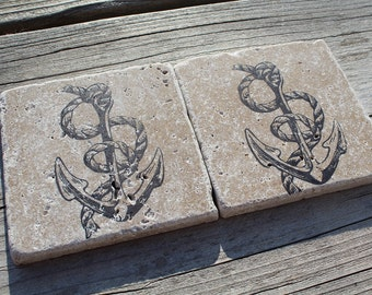 Set of 4 Anchor Nautical Tumbled Marble Coasters