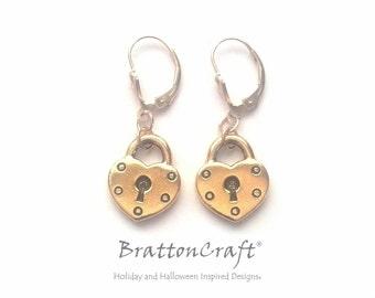 Antiqued Gold Heart Lock Earrings - Gold Heart Lock Earrings - Valentine Earrings - Heart Lock Charm Earrings