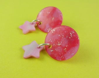 Glittery pink disc and star earrings - pretty, sparkly lucite studs with dangly mother of pearl star charms - girly, Sweet Lolita, Fairy-Kei