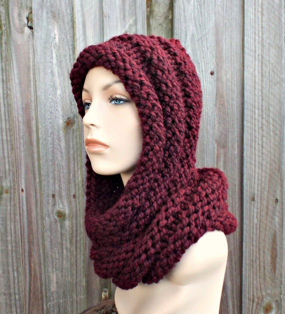 Oxblood Wine Red Womens Hat Red Hooded Scarf Hat - Gretel Wrap Hood - Red Scarf Red Knit Hat Red Hat Red Hood Red Wrap Womens Accessories