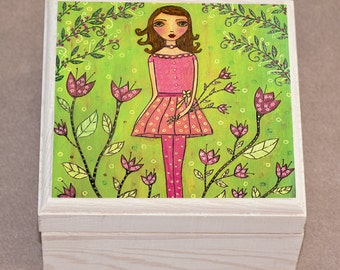 Flower Girl Jewelry Box, Wooden Trinket Box, Handmade Wood Jewelry Box, Birthday GIft