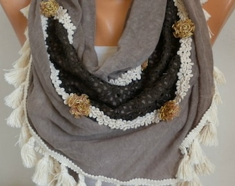 Milky brown knitted tassel Triangle Scarf,Shawl Summer Scarf Cowl Scarf Gift Ideas For Her Women Fashion Accessories,boho
