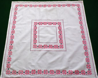 Vintage white cotton square table cloth with cross stitch hand embroidery embroidered table topper