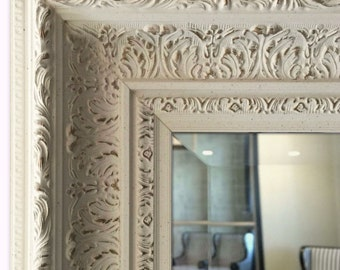 Elegance Ornate Embossed Antique White Gold Framed Wood Wall Mirror