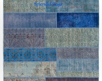 Blue - Turquoise Patchwork Rug.  Handmade from re-dyed Vintage Turkish carpets.  Wool & Cotton.  CUSTOM OPTIONS available  d727