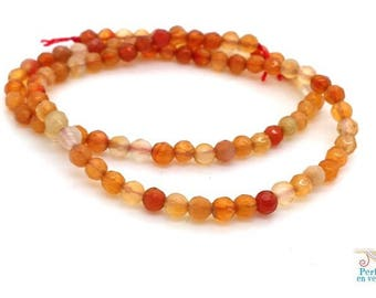 90 orange agate beads / honey / amber, faceted 4mm, (pg185) wrap bracelet