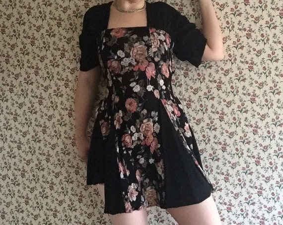 Rose Skater Dress | 90s grunger naf botanical rose floral print square neckline flutter sleeve waist tie flared mini LBD hippie witch dress