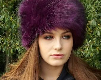 Beautiful Purple Faux Fur Hat with Cosy Polar Fleece Lining