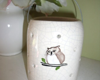 New handmade pottery Owl candle holder Lantern CRACKLE Glaze Sitting On Branch WIRE HANDLE