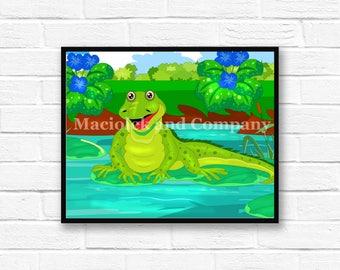Iguana, Frog, Children's Book Art, Wall Art, Nursery Room Art, instant download, digital print, digital art, 8x10