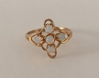 Antique Vintage 10K Yellow Gold Genuine Opal Ring