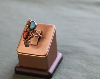 Vintage Turquoise/Coral Stacked Stone Ring Size 5.5